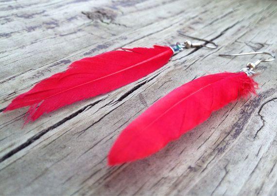 Red Feather Earrings - Feather Earrings - Feather Jewelry - Nature Jewelry - Natural Jewelry - Dyed Feather Jewelry on Etsy, $8.00