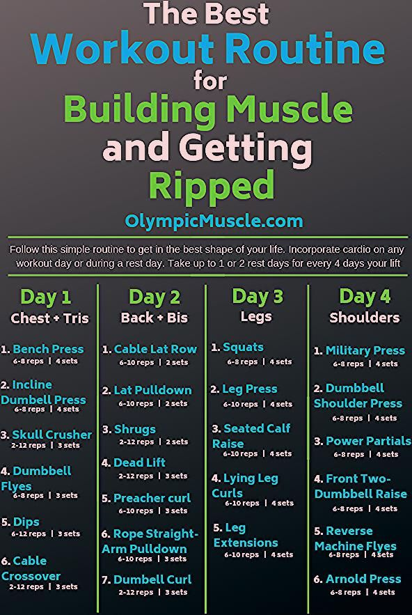 Check out this great 4 day workout routine for building muscle and getting ripped! #fitness #gym #wo...
