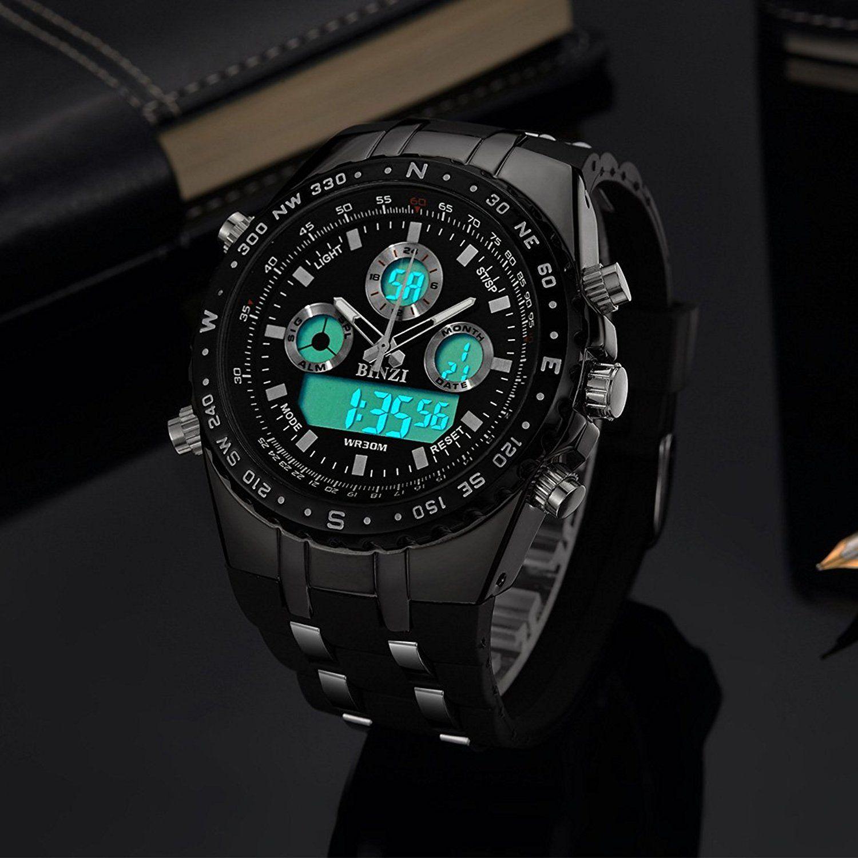 binzi Militar Hombre Reloj de pulsera Agua Densidad de deporte Relojes  Digital Reloj de Lujo LED 30a39b0f8ab