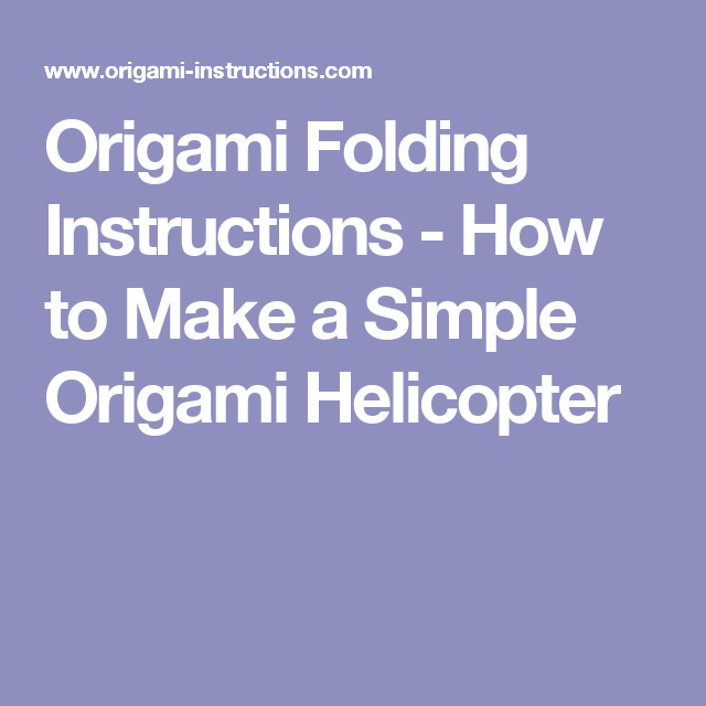 Origami Folding Instructions How To Make A Simple Origami
