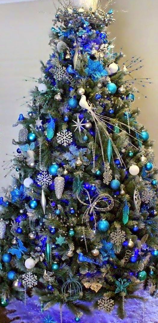 Christmas Tree With Blue Decorations Blue Chr☃Stmas  Blue Christmas  Pinterest  Christmas Tree .