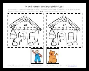 free printable word family sort with a gingerbread theme