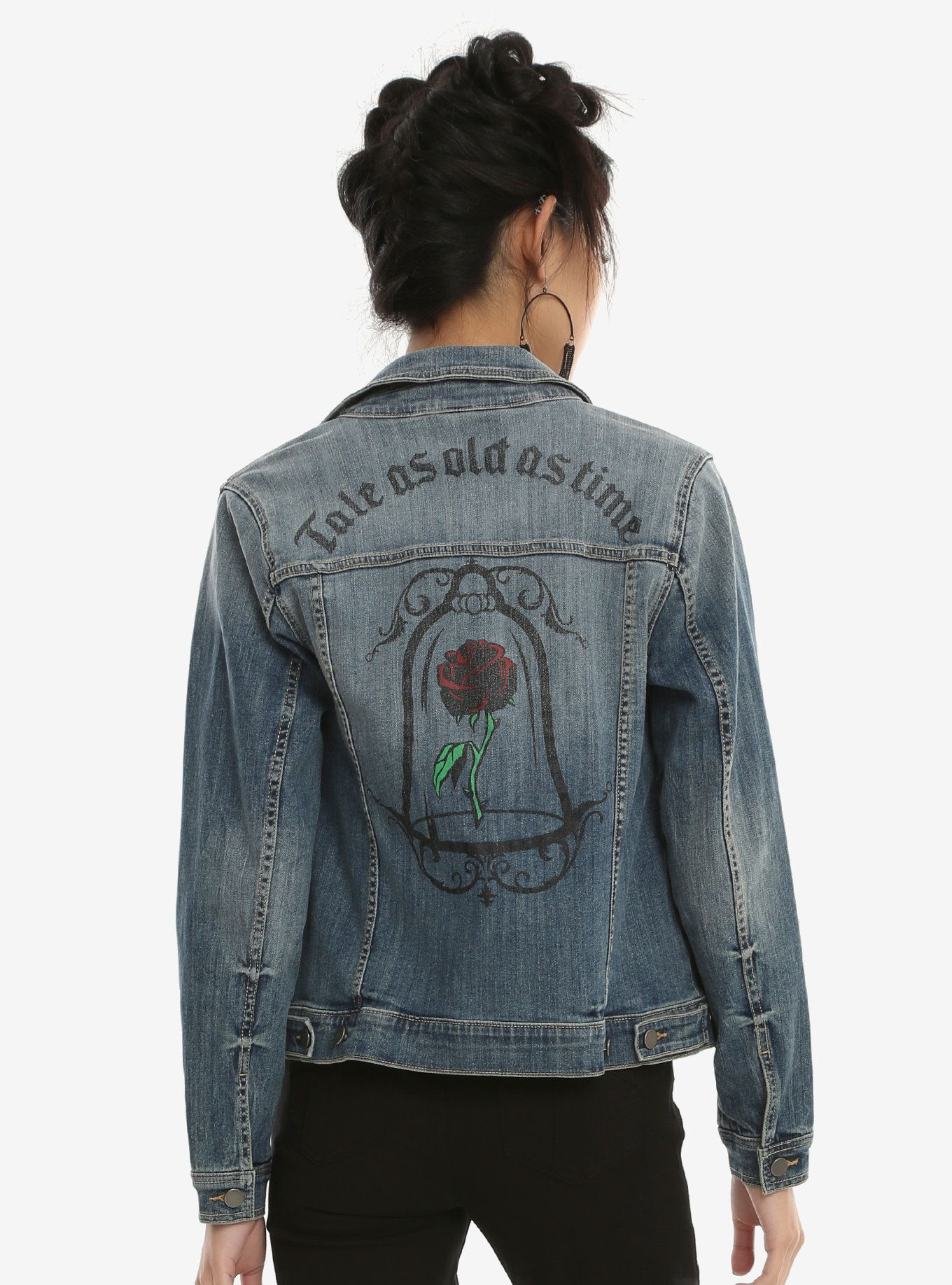 The Beauty And The Beast Denim Jacket Is A Tale As Old As Time Girls Denim Jacket Denim Jacket Girls Denim [ 1836 x 1360 Pixel ]