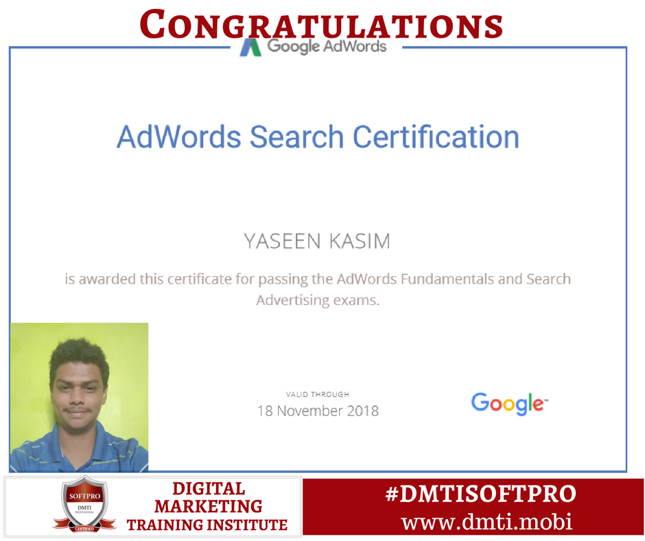 We Congratulate Our Student Yaseen Kasim On Successfully