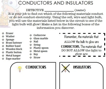 Conductors And Insulators Teaching Science Classroom