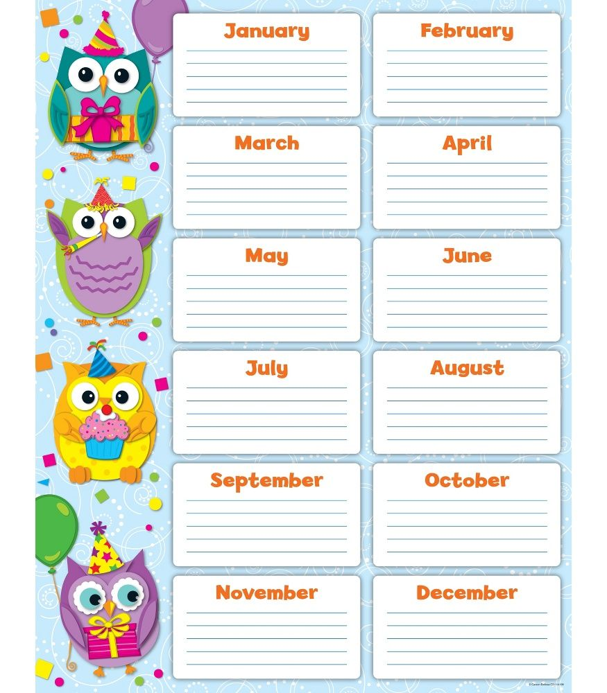 Colorful Owls Birthday Chart | Classroom Décor From Carson Dellosa  Birthday List Template Free