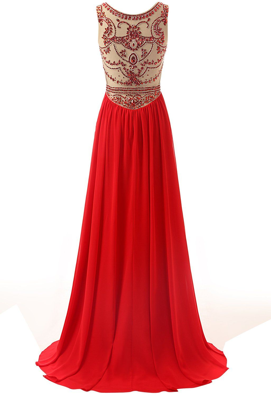 Red long prom dress handmade beadin beaded chiffon gowns and long