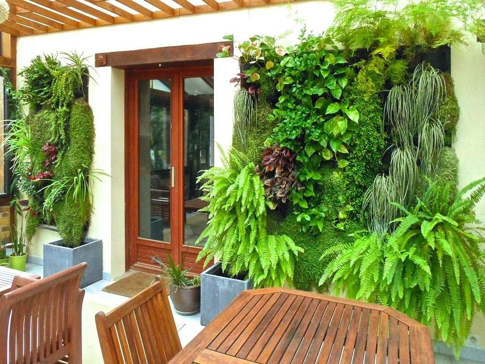 Beutiful Vertical Garden Design Ideas Beside Wooden Table And Wooden Chair  In Outdoor Beside Glass Door