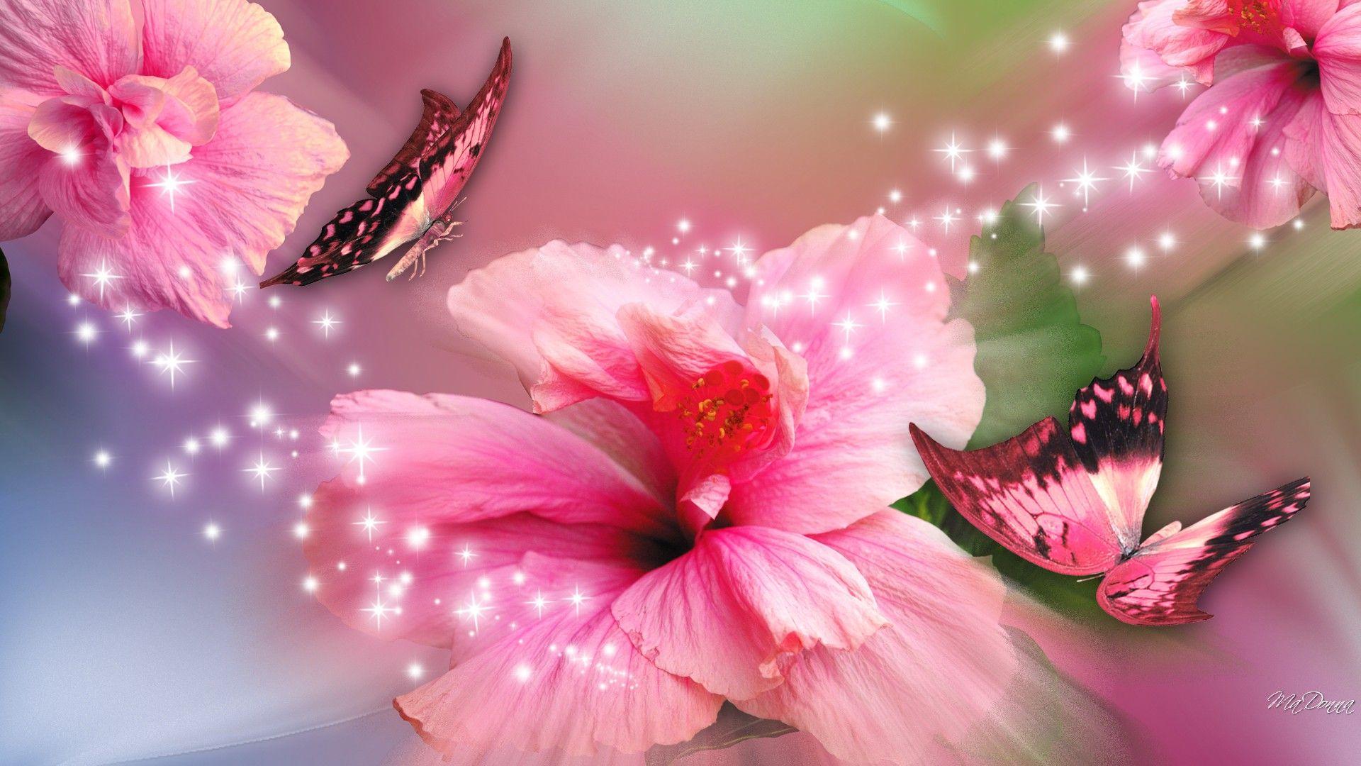 Flowers And Erflies Pink