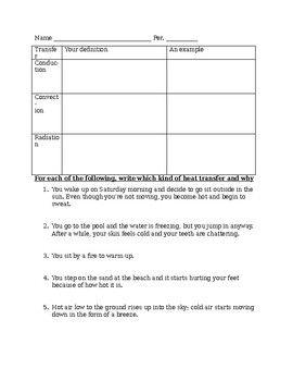 Heat Transfer Worksheet My Photos And Stuff Worksheets Heat