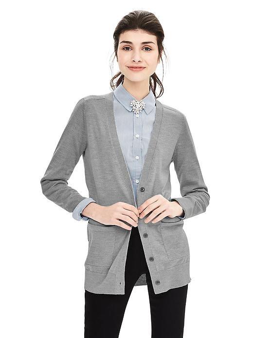 Extra-Fine Merino Wool Boyfriend Sweater Cardigan | Banana ...