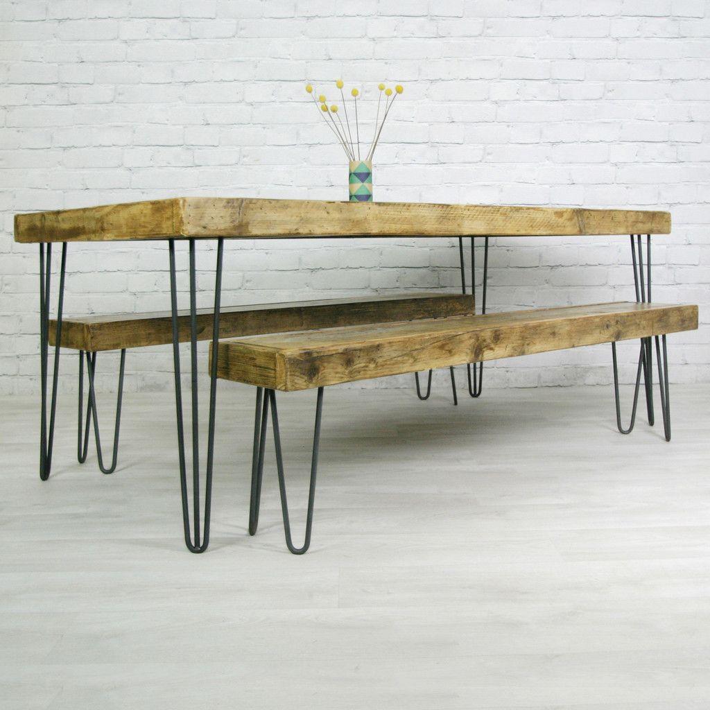 Hairpin Leg Vintage Industrial Steel Dining Table   190 X 90cm