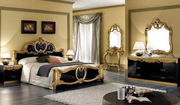 barocco black and gold bedroom set