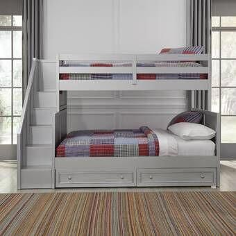 Photo of Desilets Twin Over Twin L-Shaped Bunk Bed with Shelves and Drawers