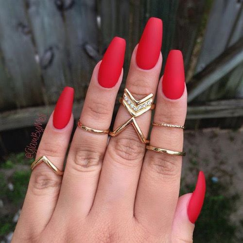 Red Coffin Nails Plain But Classy Red Matte Nails Coffin Shape Nails Red Acrylic Nails
