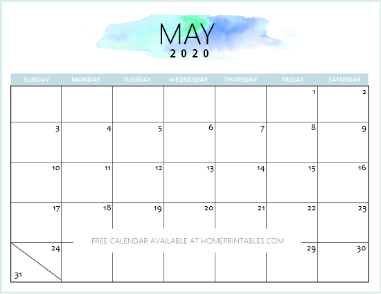 Free 2020 Calendar Printable: Simple and Very Pretty ...