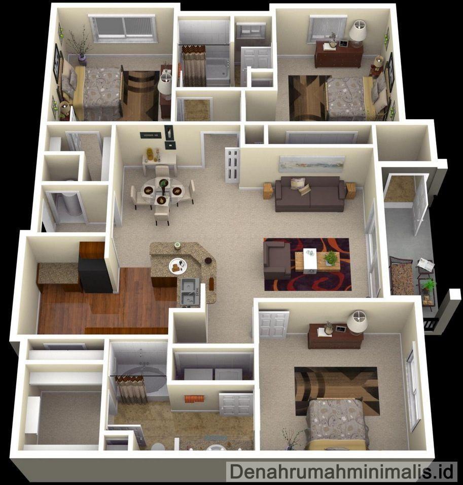 Denah Rumah Minimalis Sempit 3d 1 Lantai 3 Kamar Tidur 3d In 2018