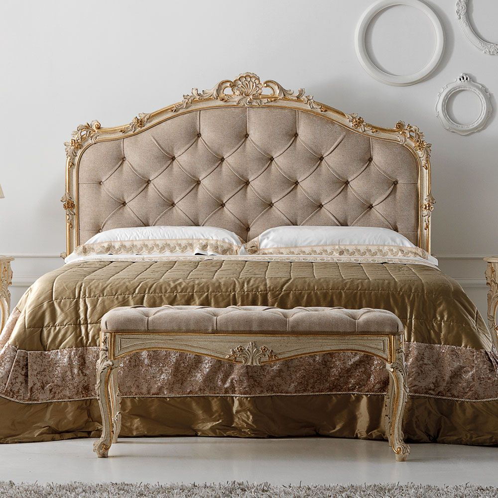 Carved Reproduction Rococo Italian Button Upholstered Bed | Bedroom ...