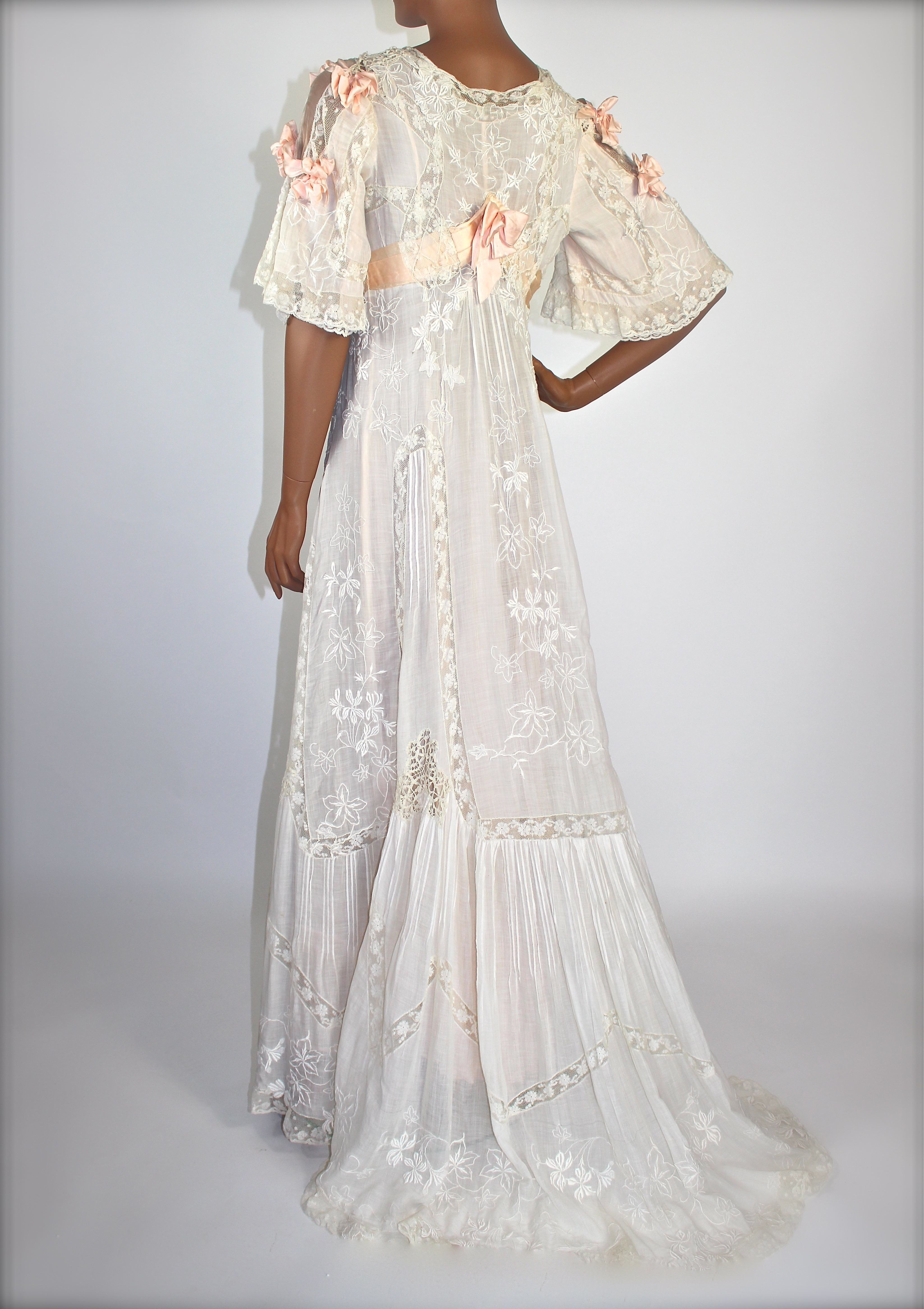 edwardian cotton batiste u mixed lace wedding gown c