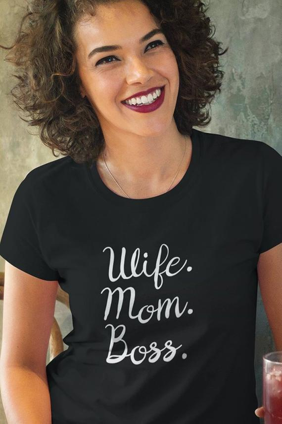 83d6babd Wife Mom Boss Shirt, Funny Mom Shirt, Mother Gift, Mom Shirts With Sayings  Present For Mom, Mothers
