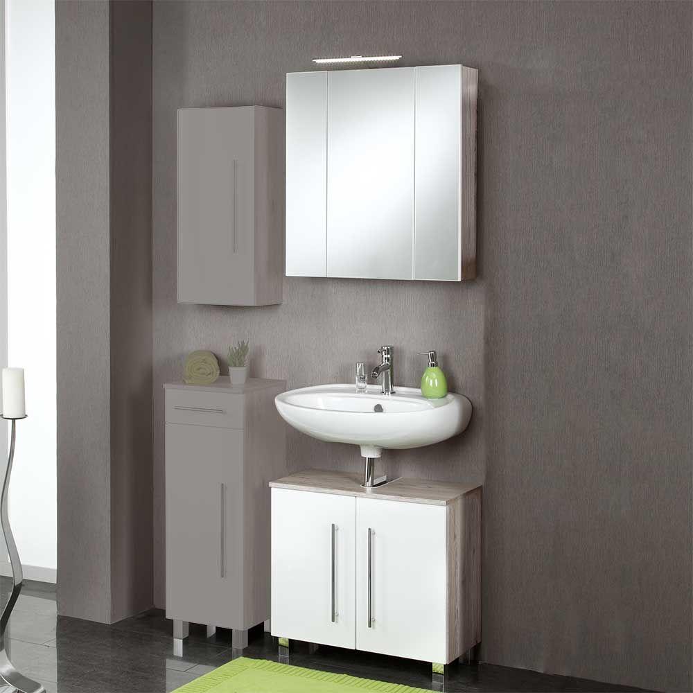 Badezimmer Set mit Bluetooth Spiegelschrank Hochglanz Weiß (2-teilig ...