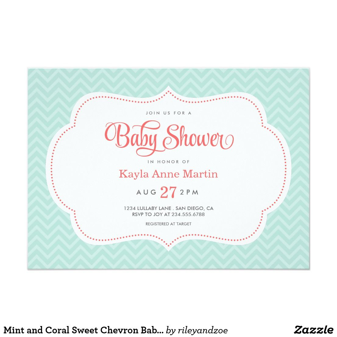 Mint and Coral Sweet Chevron Baby Shower Card | Chevron baby showers ...