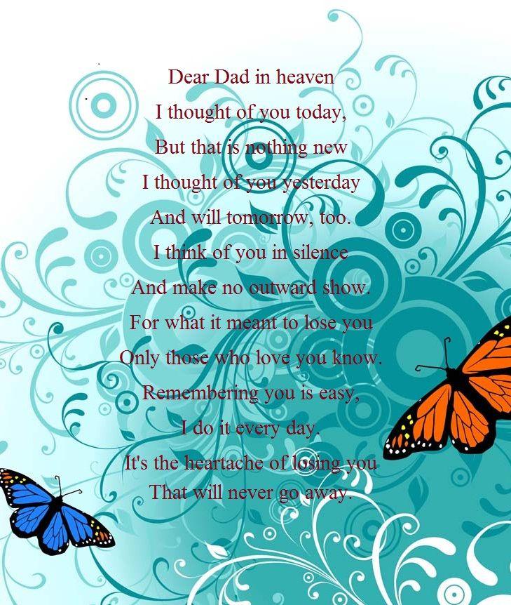 Dear Dad In Heaven.....