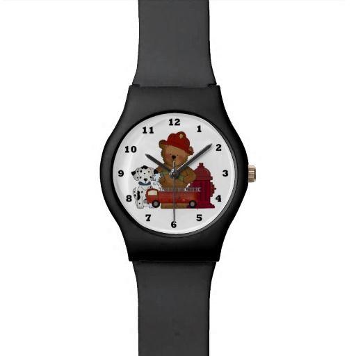 Fireman Bear cartoon May28th wrist watch