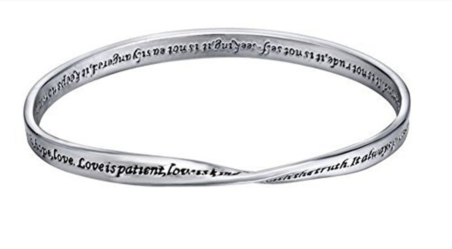 Silver Engraved Inspirational Bangle Bracelet - 1 Corinthians 13: 4-7, Love is Patient, Love is Kind... by Holy Christian Gifts -- Awesome products selected by Anna Churchill