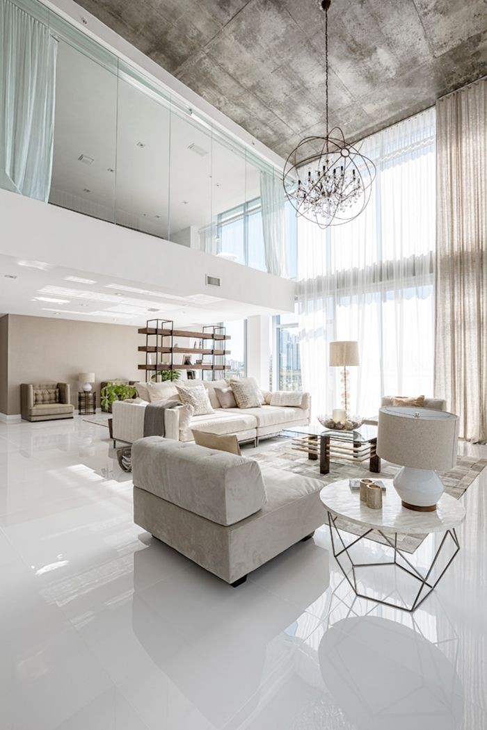 Neutral colors in living room Soft furnished interior and - hi tech loft wohnung loft dethier architecture