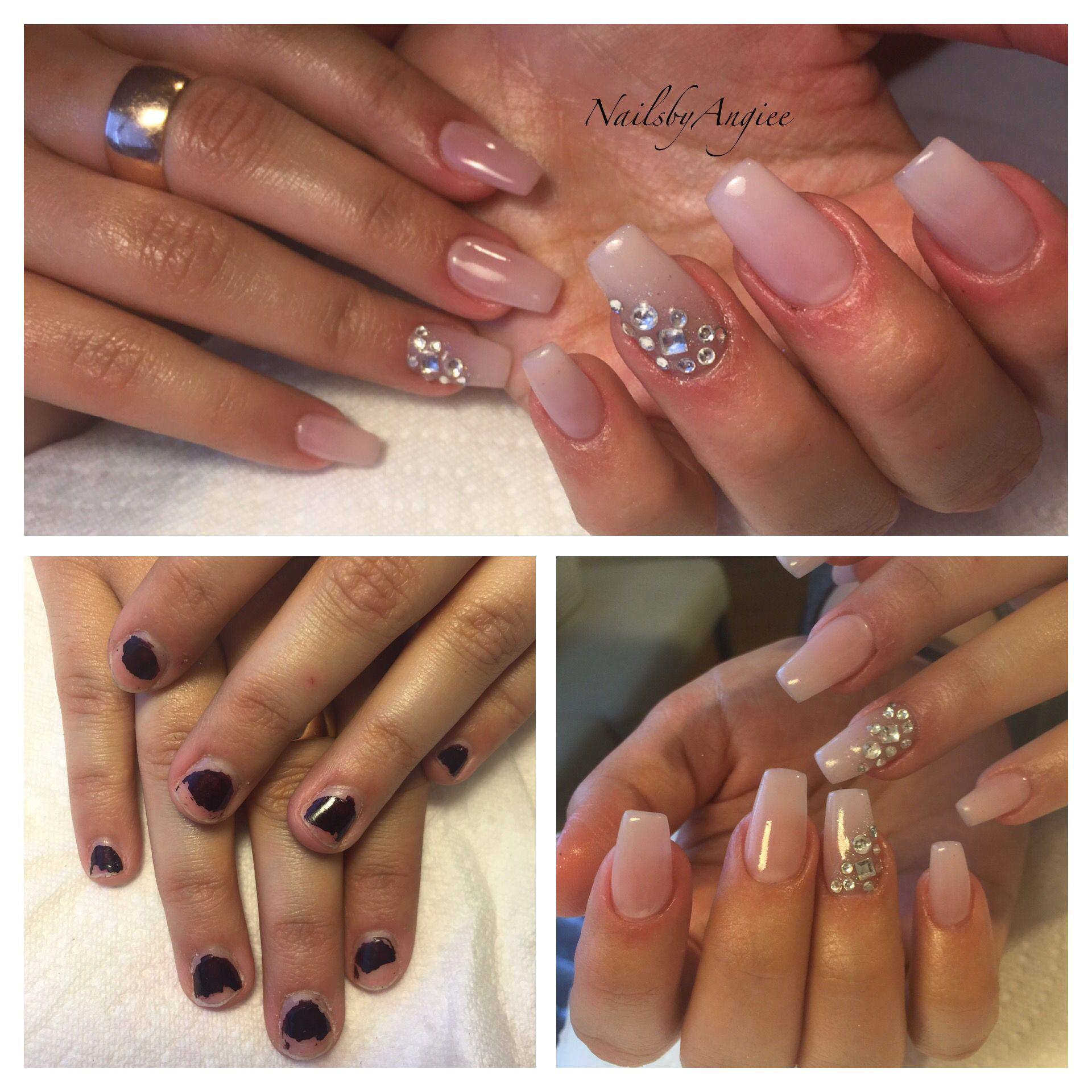 Full set acrylic with light pink gel and Swarovski diamonds design ...