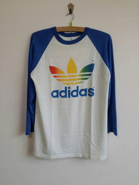 70s Adidas Trefoil Ringer t shirt Extra Small