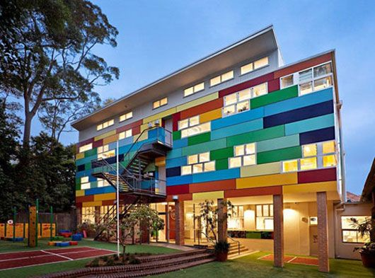 Colorful school architecture with eye catching exterior for School building design