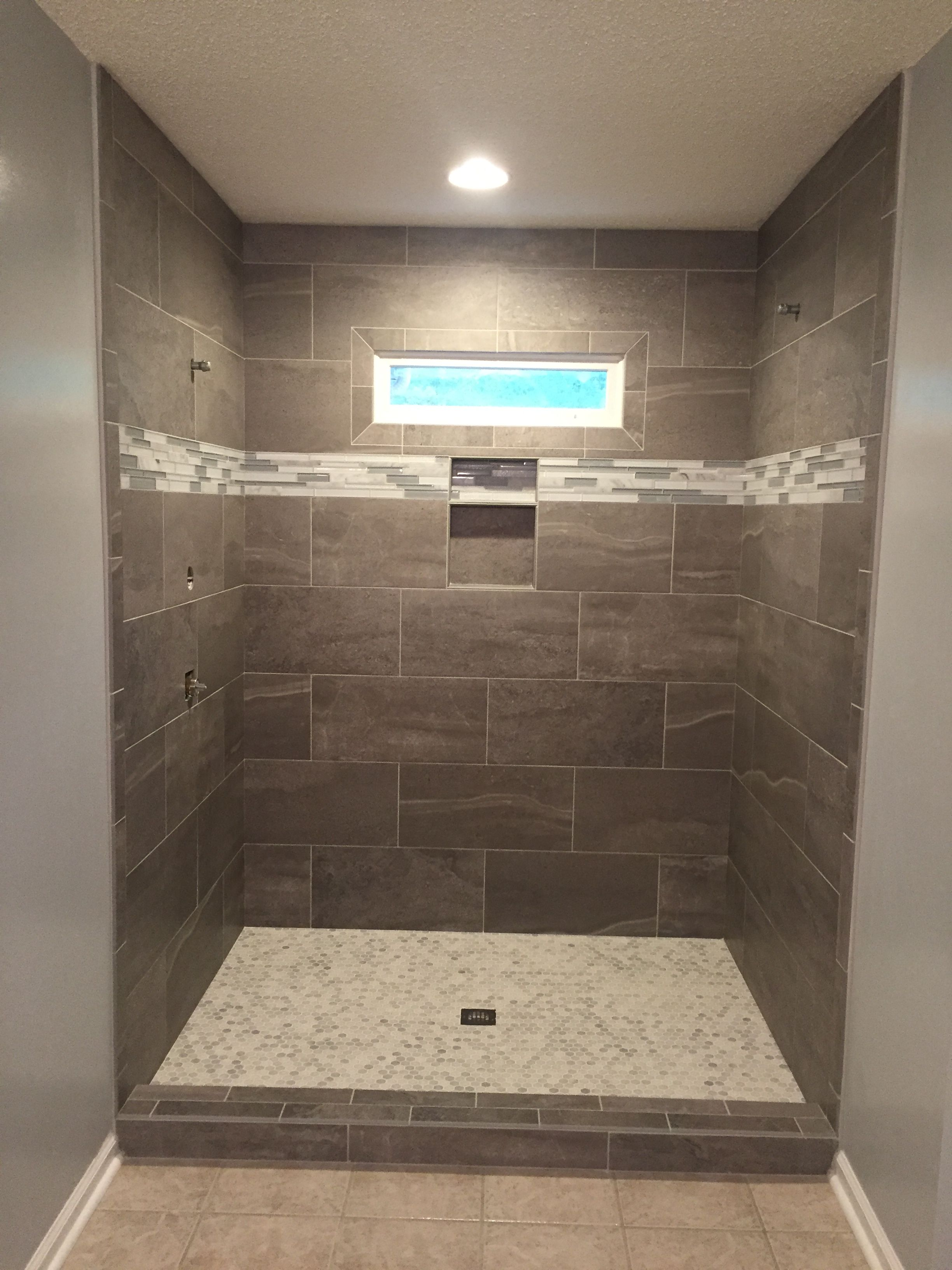 Skyros gray tile with glass accent strip and Carrara ...