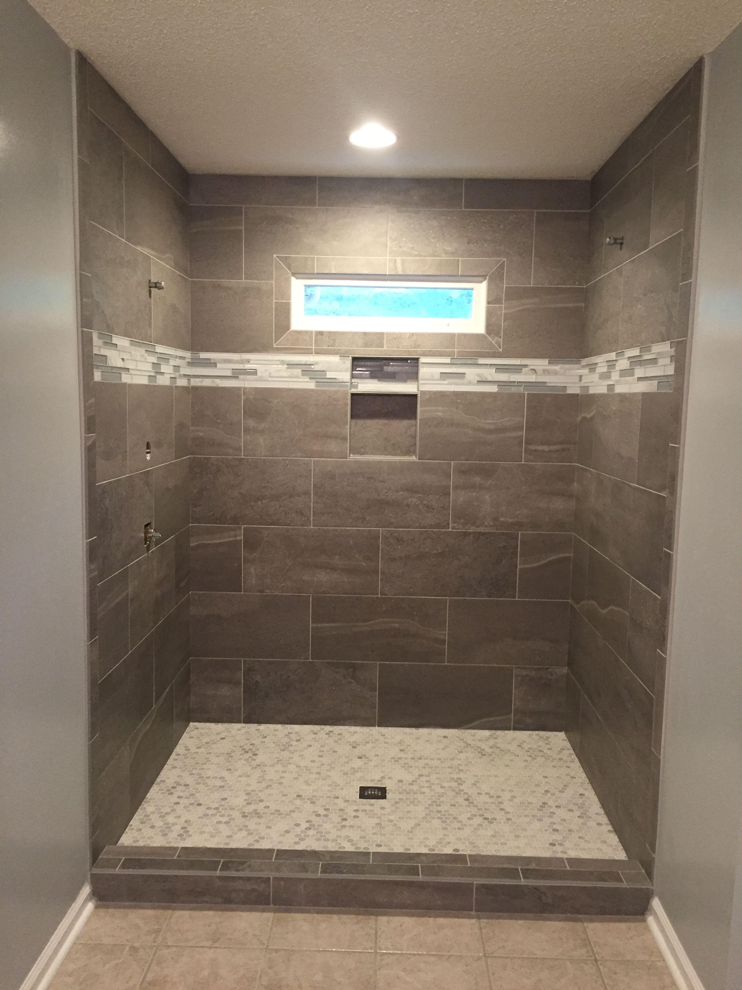 gray shower tile bathroom remodel
