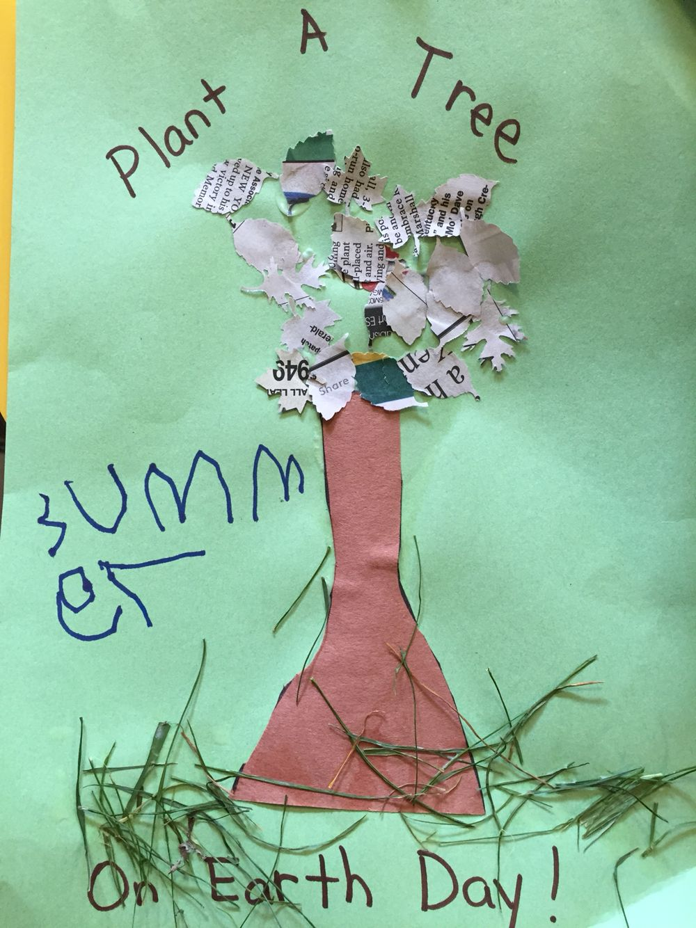 Preschool Earth day craft with real grass and recycled newspaper ...