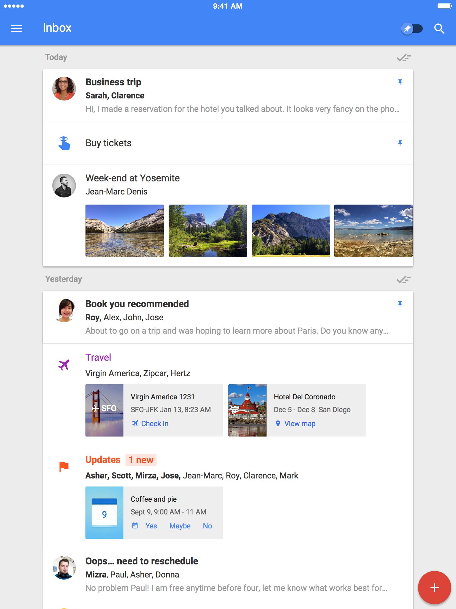 Inbox By Gmail iPad / JeanMarc Denis Inbox, Interface