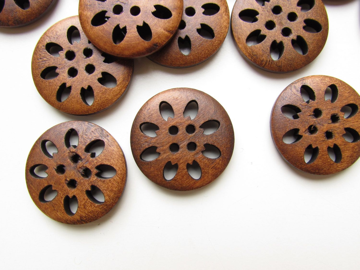 Carved Wooden Snowflake Button 25mm