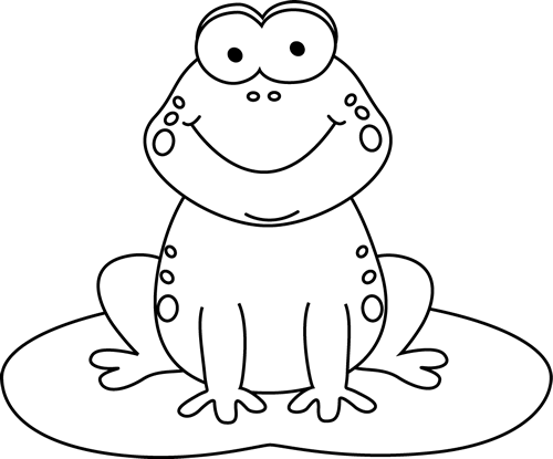 Black and White Cartoon Frog on a Lily Pad | Coloring- Animals ...