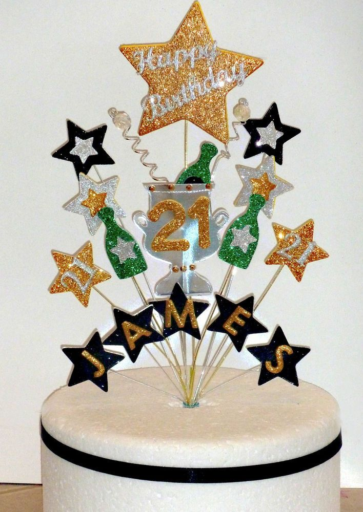 Champagne Birthday Cake Topper with Name Any Age18th 21st 30th