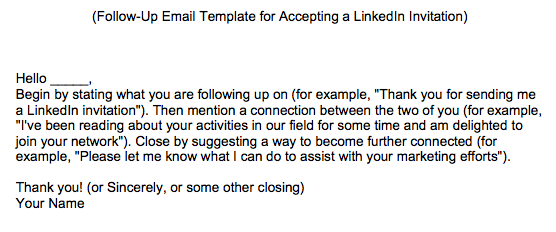 FollowUp Email Template For Accepting Linkedin Invitations
