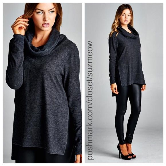 New! Charcoal Grey Cowl Neck Sweater • Large Boutique | Cowl neck ...