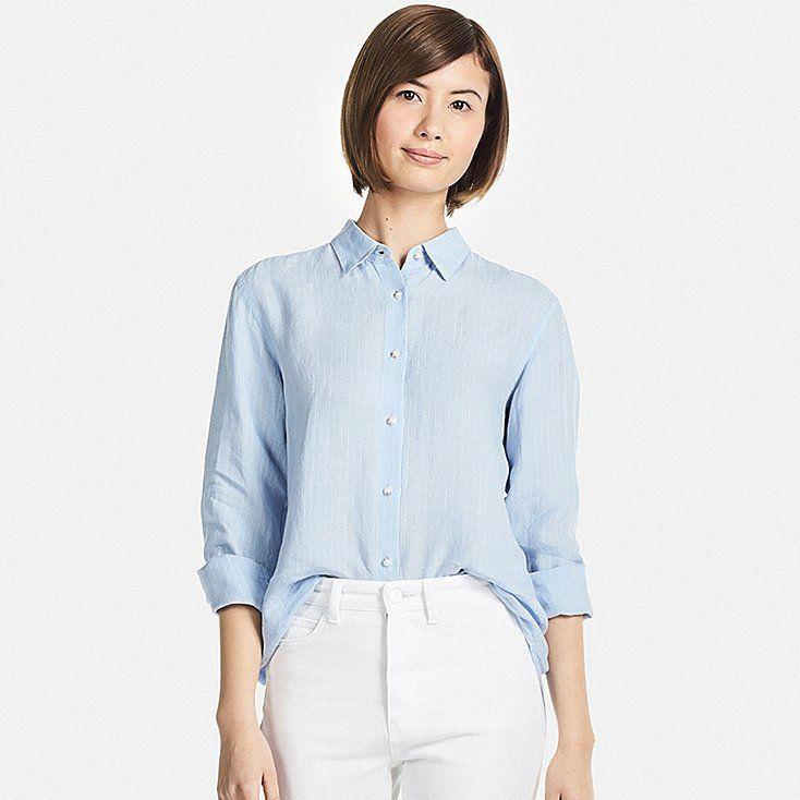 e03699441da Women premium linen striped long-sleeve shirt in 2019
