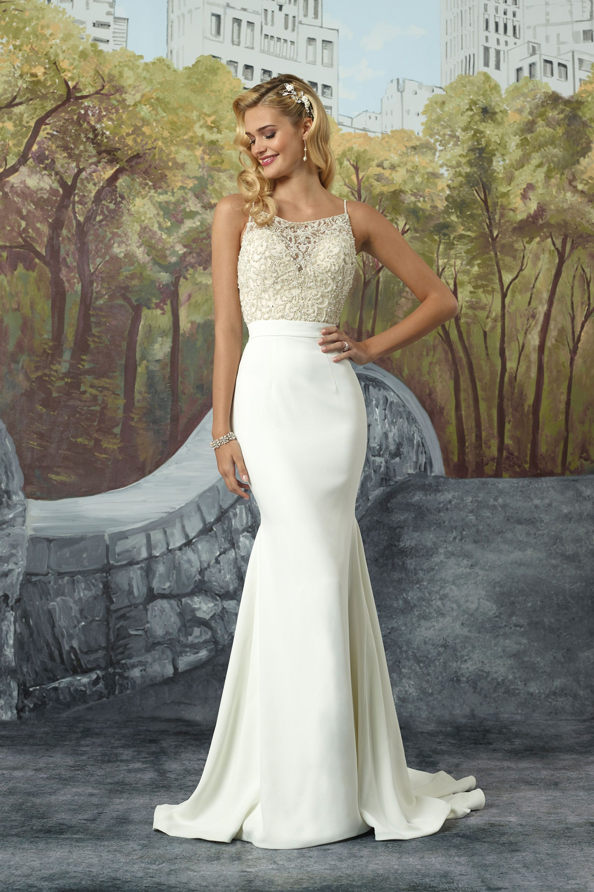 cd97d7fdd040 Crepe Fit and Flare Gown with Square Neckline Beaded Bodice