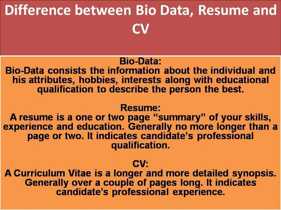 Difference Between Bio Data,Resume and CV Bio data