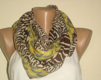 Multicolor Infinity Scarf  - Brown Gold Yellow White Scarf -  Fashion Scarves For Women - Cowl  Scarf