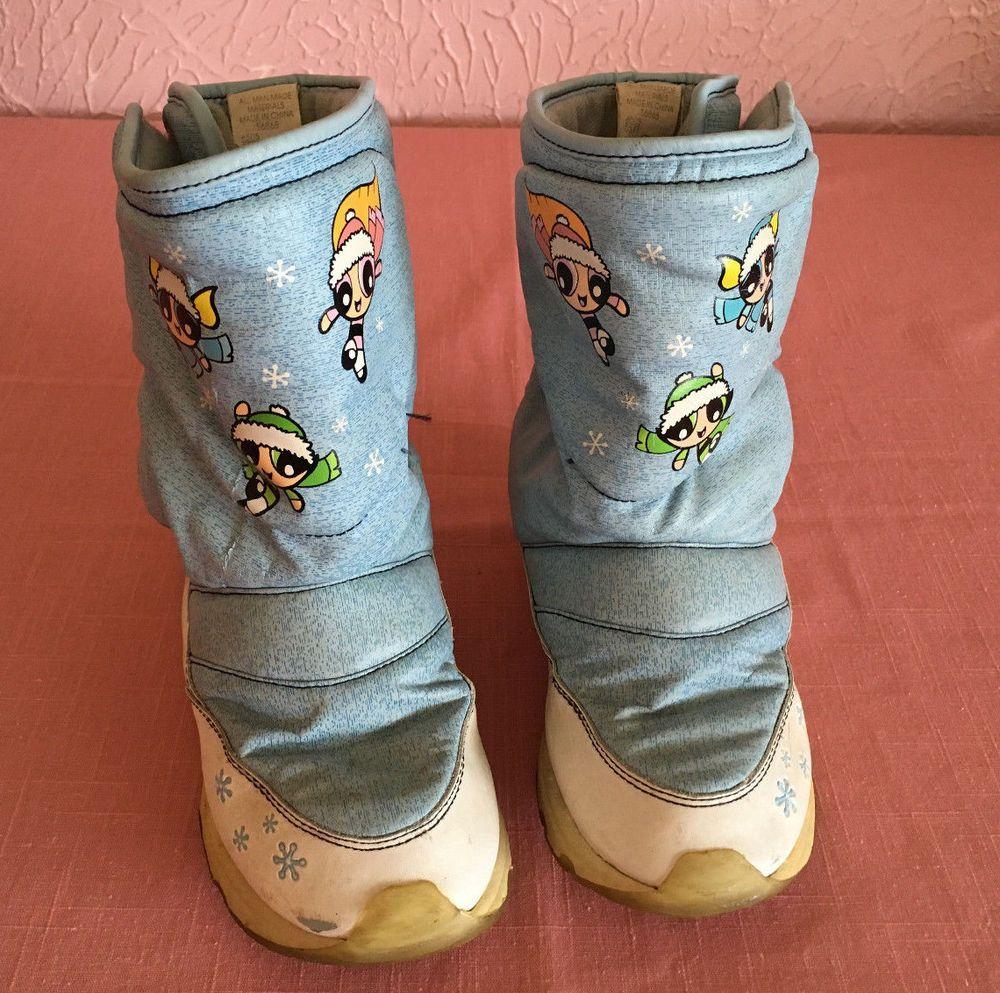 92085ba16406 Powerpuff Girls Girls WInter Snow Boots Size 2 M Pull On Velcro Cartoon  Network…