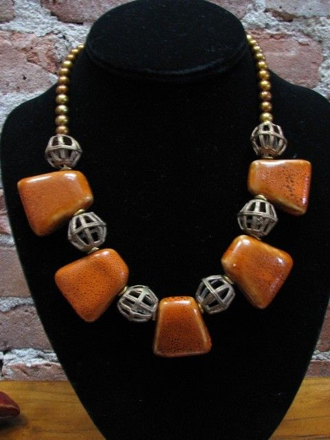 AFRICAN QUEEN Necklace - Porcelain, Brass and Pearl Russet Orange. $95.00, via Etsy.