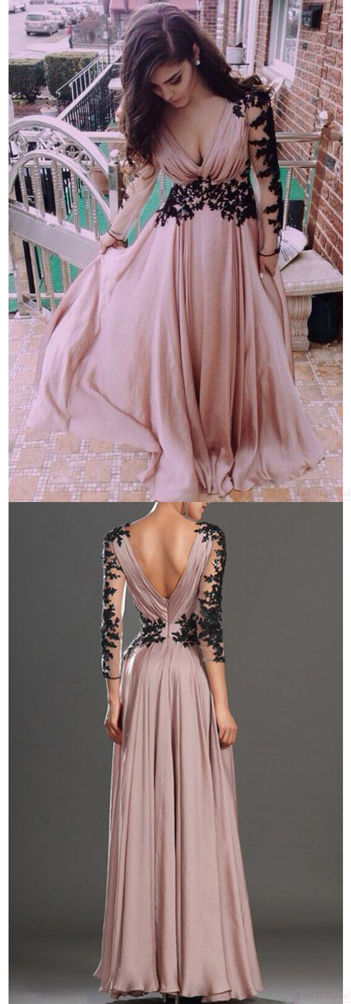 New arrival sexy vneck lace long sleeve prom gowns party evening