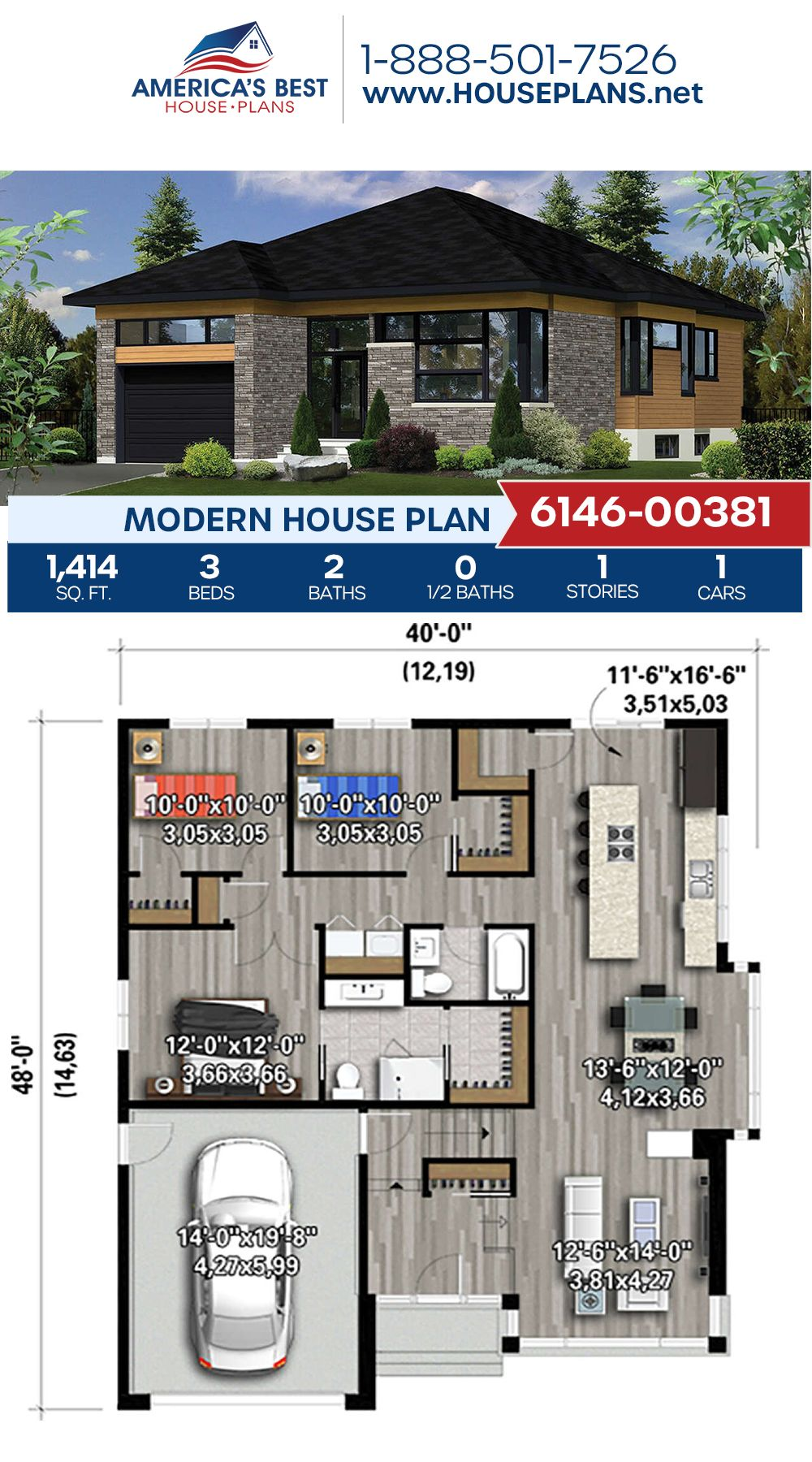 House Plan 6146 00381 Modern Plan 1 414 Square Feet 3 Bedrooms 2 Bathrooms In 2020 House Plans Modern House Plan Best House Plans
